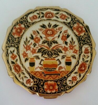 Vintage Stratton  Royal Floral Scalopped Enameled Powder Compact.