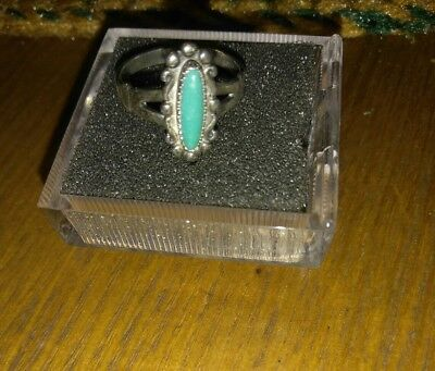 VINTAGE FRED HARVEY ERA BELL TRADING POST STERLING GREEN TURQUOISE RING Size 6.5