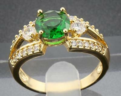 1.45Ct Natural Round Emerald & Diamonds 14Kt Solid Yellow Gold Ring Size 5#