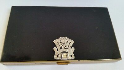Vintage Volupte Clutch Carryall Black Art Deco Vanity Compact Stones Jeweled lid