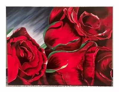 Handmade Roses Acrylic Painting on 30x40 Inches Canvas with Resin