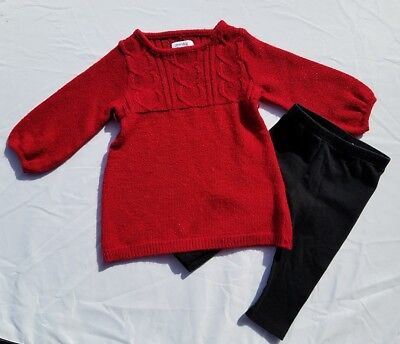girls 12 month christmas red sweater dress tunic black leggings winter sparkle - 12 Month Christmas Dress