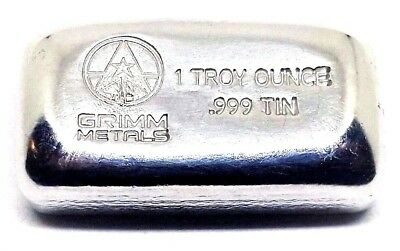 1 Troy Ounce .999 Fine Tin Bullion Bar - Hand Poured & Stamped - Grimm Metals