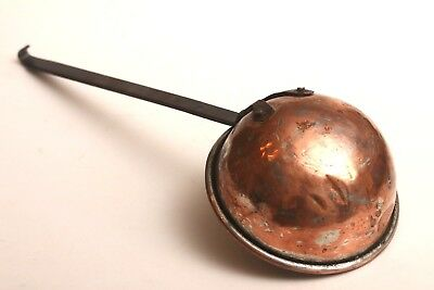Antique 1920s Hand Wrought Copper & Iron Ladel, French, LARGE ~ Heavy