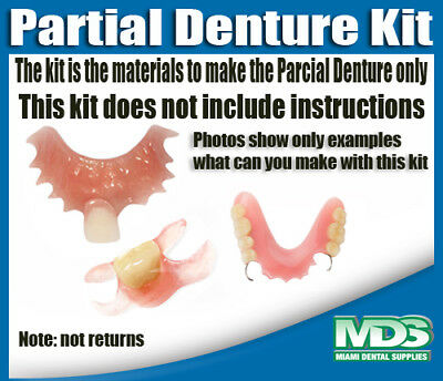 Partial Denture Kit /  Upper and Lower set for one person. (NO INSTRUCTIONS)