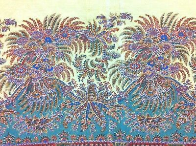 "Ex-large Antique Kashmir Paisley Shawl Print W/ Floral Butehs,19th C (60"" X 60"")"
