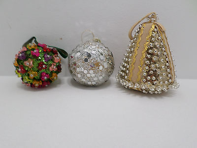 Christmas Tree Ornaments Decorated with Beads and Sequins 3 pcs