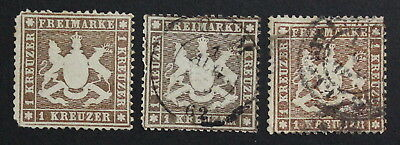 Germany, wurttemberg, Lot of 3 Mint & Used Stamps #a1958