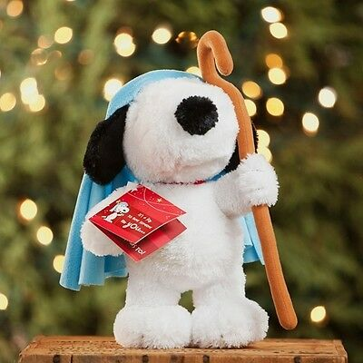 "Dayspring Peanuts Snoopy Christmas Plush Shepherd with Staff 10.5"" New"