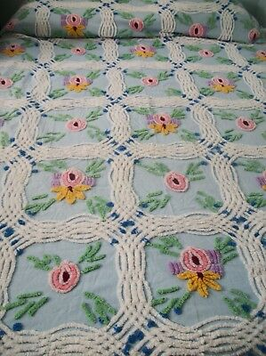 "Vintage CHENILLE BEDSPREAD  Blue Pink Green FLORAL - 84 X 100""  Cotton  CUTTER"