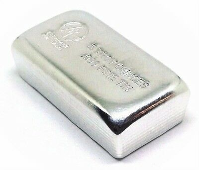 5 Troy Ounces .999 Fine Tin Bullion Bar - Hand Poured & Stamped - Grimm Metals