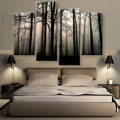 4pcs Modern Canvas Prints Landscape Painting Background Wall Picture Forest