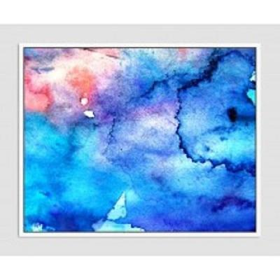 large 100x80 abstract retro white floating frame blue pink canvas print artwork