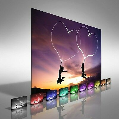 Love At Beach Sunset Canvas Print Large Picture Wall Print