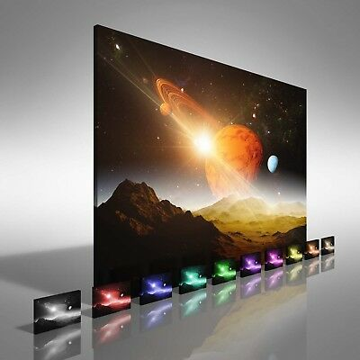 Space Planet and Moons Canvas Print Large Picture Wall Print