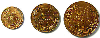 1864 Tunisia Set - Quarter, Half and One Kharub Copper Type Set BU Coins