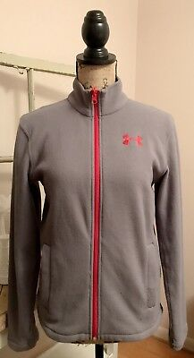 Boys UNDER ARMOUR Fleece Zip Up Jacket Gray Red Size YLG Large Youth Kids