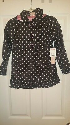Girl's Pink Platinum Black and White Raincoat with Detachable Hood Size 6X