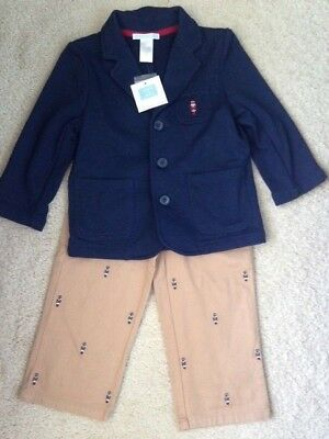 NWT ($105) JANIE AND JACK TODDLER Soldier Boy Blue Jacket & Khaki Pant Suit, 2T