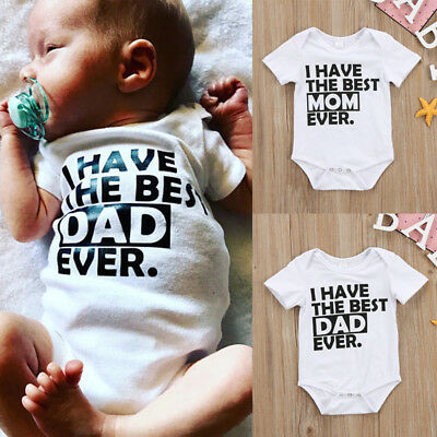 Best Daddy Mommy Newborn Infant Baby Boys Girls Romper Bodysuit Clothes Outfits