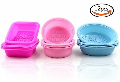 12× Square Oval Round Shape Silicone Handmade Soap Mold Baking Mould 3 Colors