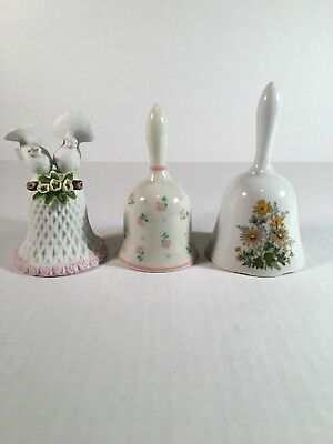 """CERAMIC BELLS LOT of 3 White & Ivory w/ Birds and Flowers  5"""" - 5.5"""" Tall EUC"""