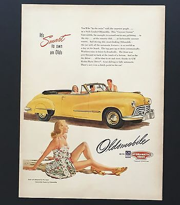 1947 Oldsmobile Advertisement Convertible Coupe Yellow Car Sexy Girl Print AD