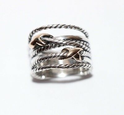Authentic David Yurman Sterling Silver &18k Gold Double X Crossover Ring Size 7