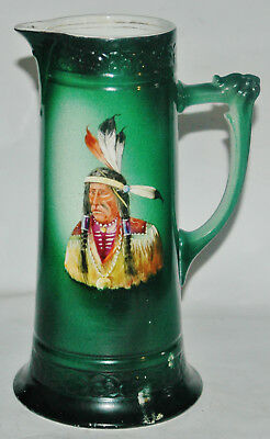 """Vintage Hand Painted Native American Indian 12"""" Chief Master Beer Stein"""