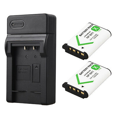 2x 1350mAh NP-BX1 Battery + Charger For Sony M3 AS15 WX350 WX300 HX300 HX400