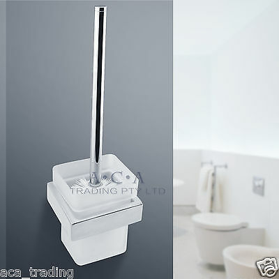 ACA Toilet Brushes SET Cleaning Tool Square Wall Mount Bathroom Chrome Glass Cup