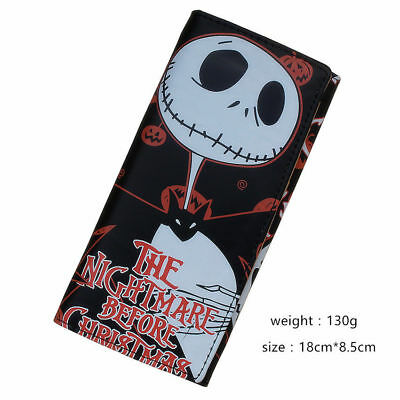 New Fashion Nightmare Before Christmas Jack Skellington Wallet Long Purse black