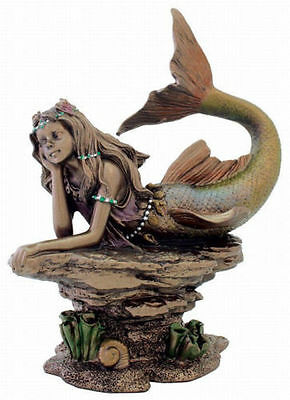 "7"" Mermaid Deep In Thought Figurine Nautical Ocean Decor Statue Sea Figurine"