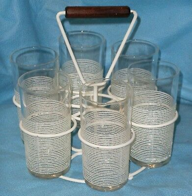 Vintage Mid Century Modern Glasses Tumblers in Metal Wire Rack w/ Wood Handle