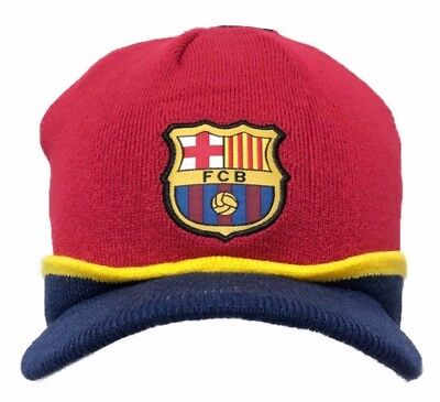 91035dec88f00f FC Barcelona Official Licensed Winter Knit Cuffed Beanie with Visor Hat Cap  NWT