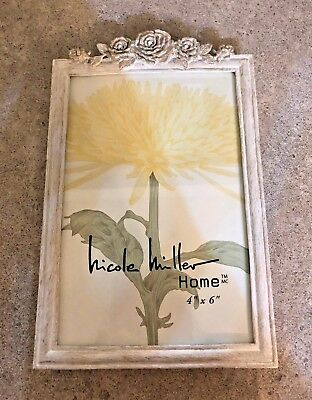 Nicole Miller Home 4x6 Picturephoto Frame Gold And White With
