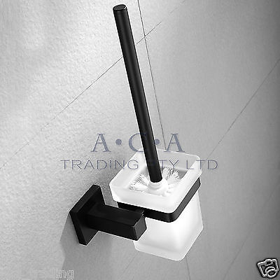 ACA Black Toilet Brush Holder SET Ground Glass Cup Stainless Steel Wall Mounted