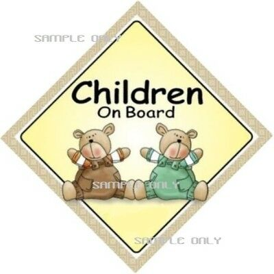 CHILDREN ON BOARD  -  Two Bears - MADE IN OZ - Peel Off Strips -FREE POST