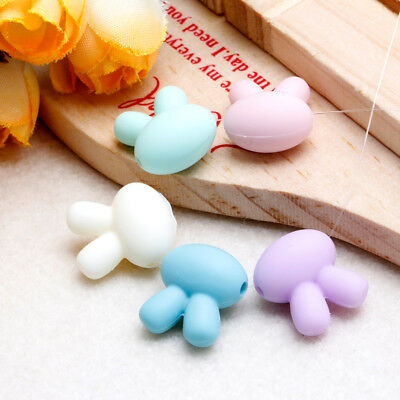 5x Silicone Rabbit Beads Necklace Making For Baby Teether Chew Toy BPA Free