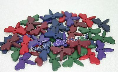 20 DRAGONFLY (C) Red Green Blue Purple Burgundy Buttons - 2 Hole Sewing Craft