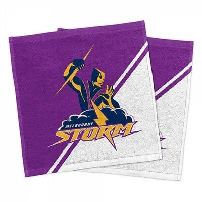 Melbourne Storm Official NRL Face Washer Towels Pack 2 FREE POST