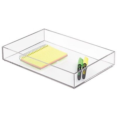 MetroDécor Durable Stackable Office Supplies Storage BPA Free Organizer Clear