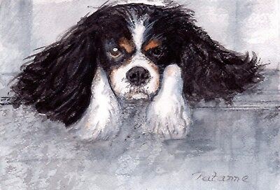 Original Watercolour Painting /cavalier King Charles Spaniel/ Dog /signed