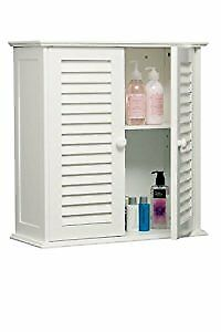Bathroom Wall Cabinet with Double Shutter Door, 55 x 52 x 22 cm - White