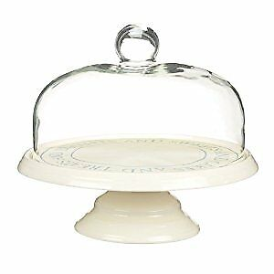 Classic Collection 29 cm Ceramic Cake Stand with Glass Dome