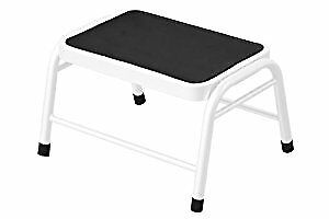 Metal Step Stool with Black Rubber Top, 25 x 43 x 35 cm - White