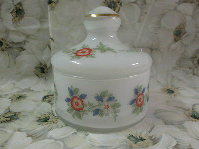 Vtg*frosted Glass Apothecary Jar/trinket With Lid White Floral Made In Italy*ec