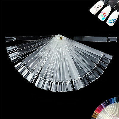 50 Nail Art Clear False Fan Display Wheel Polish Practice Colour Tip Stick UK