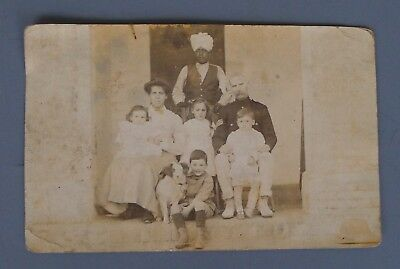 Real PHOTOGRAPH British India? French Africa? Military FAMILY uniform dog
