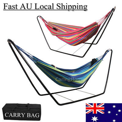 Double Hammock With Stand Garden Swinging Steel Frame Outdoor Camping Sleep Bed